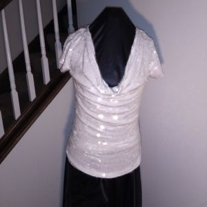 White sequin shirt